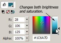 Figure 1, Color panel brightness/saturation combo slider